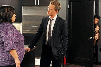 """The Over-Correction"" -- Robin becomes increasingly suspicious of Barney's (Neil Patrick Harris, center) relationship with Patrice (Ellen D. Williams, left), on HOW I MET YOUR MOTHER, Monday, Dec. 10 (8:00-8:30 PM, ET/PT) on the CBS Television Network. Also pictured: (right side top to bottom) Josh Radnor, Cobie Smulders and Alyson Hannigan Photo: Ron P. Jaffe/Fox  ©2012 FOX Television. All Rights Reserved."
