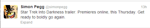 SimonPegg StarTrekTrailer Prep Yourself Trekkies: The Star Trek Into Darkness Teaser Trailer Will Be Online Thursday