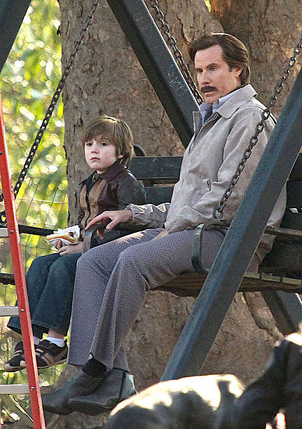 Anchorman2 RonBurgandyAndSon Ron Burgundy Is A Baby Daddy In Anchorman: The Legend Continues, At Least If This New Set Photo Is To Be Believed