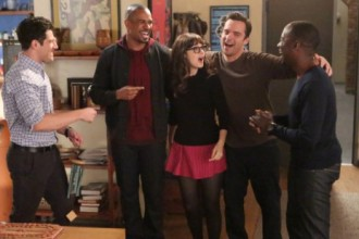 "NEW GIRL:  Jess (Zooey Deschanel, C), Nick (Jake Johnson, second from R), Schmidt (Max Greenfield, L) and Winston (Lamorne Morris, R) welcome Coach (guest star Damon Wayans, Jr., second from L) back to the loft in the ""Coach"" episode of NEW GIRL airing Tuesday, Nov. 5 (9:00-9:30 PM ET/PT) on FOX.  ©2013 Fox Broadcasting Co.  Cr:  Adam Taylor/FOX"