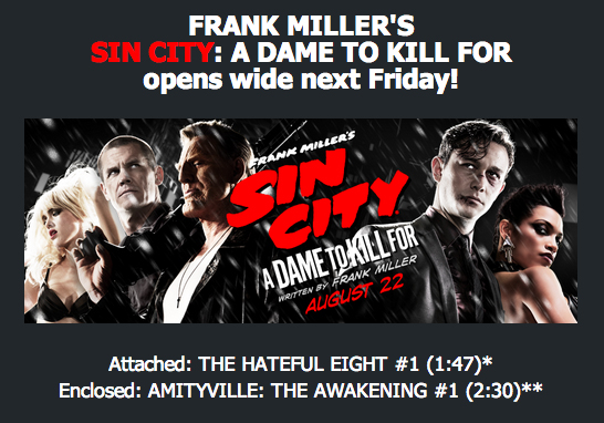 The Hateful Eight Teaser Trailer Will Be Exclusively Attached to Sin City: A Dame To Kill For, Since The Weinstein's REALLY Want You To See Sin City: A Dame To Kill For